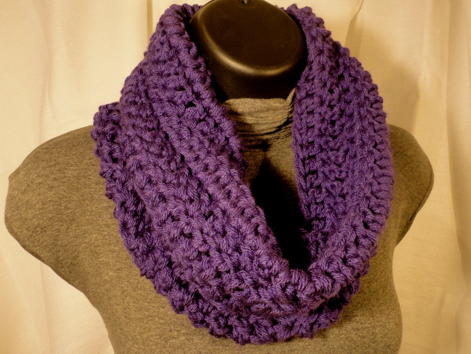 Crochet Scarf Cowl Neck Warmer Purple Grape by VillaYarnDesigns Cowl Neck Scarves Crochet