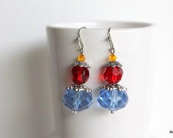 Blue crystal rondelle earrings