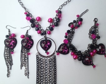 Leopard Statement Neckalce- Pink & Black Leopard- One of a Kind Original- Designs by Stalinda