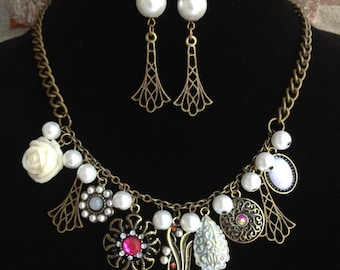 Pearl Statement Necklace-Vintage Statement Necklace-Victorian Necklace-One of a Kind Original-Designs by Stalinda