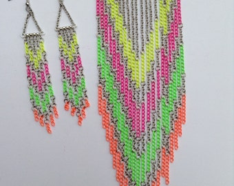 Fringe Necklace-Long Necklace-Tribal-Native American-Statement Necklace-Neon Necklace-Hand Made-One of a Kind-Designs by Stalinda
