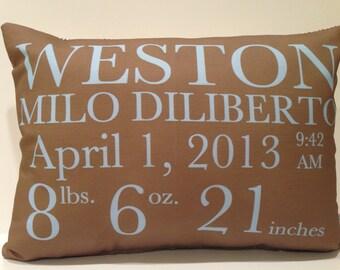 Birth Announcement Pillow baby gift birthday baby shower new baby girl boy custom