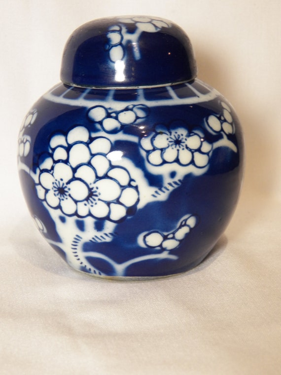 Cobalt Blue and White Ginger Jar Plum Tree - Cherry Blossom Floral ...
