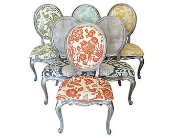 Eclectic Dining Chairs Set of 4 6 8 10 Upholstered in Colorful Thomas Paul Fabric Cane Back & French Accent Chairs Vintage