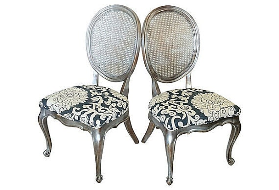 Items Similar To Pair Of French Cane Back Dining Chairs Painted Silver Distressed Upholstered In