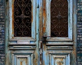 Photography Backdrop, Blue Wood  Door Scenic Photo Background  Ultralite Fabric-Not Vinyl SS256