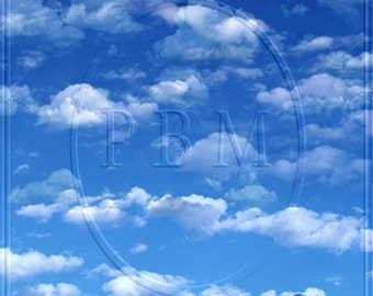 Photography Backdrops Blue Sky with Clouds Background Ultralite Fabric-Not Vinyl ST159