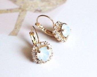 Swarovski Crystal Halo Drop Earrings in White Opal