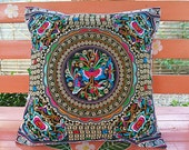 Lotus Flowers Hmong Embroidered Cushion Cover