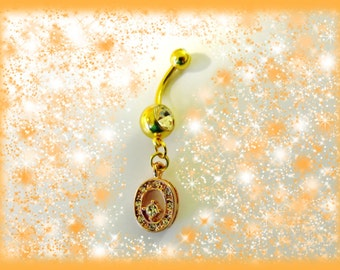SALE-Belly Ring, Genuine 18KG Rose Gold Eternity Circle with Crystal Moon Belly Button Jewelry For Women and Teens