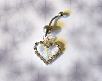 SALE- Belly Ring, Open Crystal Heart with Dangling Swarovski Crystal Belly Button Ring, Belly Jewelry For Women and Teens