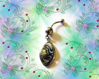SALE--Belly Ring, Dangling 14KG Gold, Genuine Turquoise Abalone Moon Tear Drop, Belly Button Jewelry, For Women and Teens