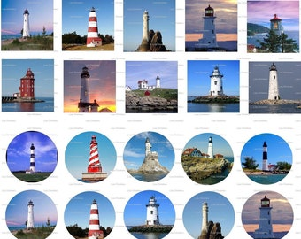 Lighthouses, Digital Collage, Instant Download, 1 inch, 1.5 inch, Circles, Squares /  62