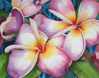Hawaii.....Art Original Watercolor Painting of a Giant Hawaiian PINK PLUMERIA