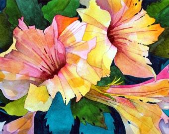 NEW Art Original Watercolor Painting of SPRING PINKS