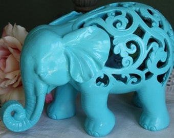 PICK YOUR COLOR Ornate Elephant Figurine / Home Decor / Animal Decor / Turquoise