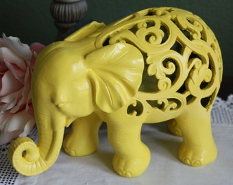 SUN YELLOW Ornate Elephant Figurine / Home Decor / Animal Decor