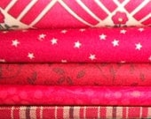 Five Red Fat Eighths Quilt Fabric Bundle for Scrappy Quilt Projects