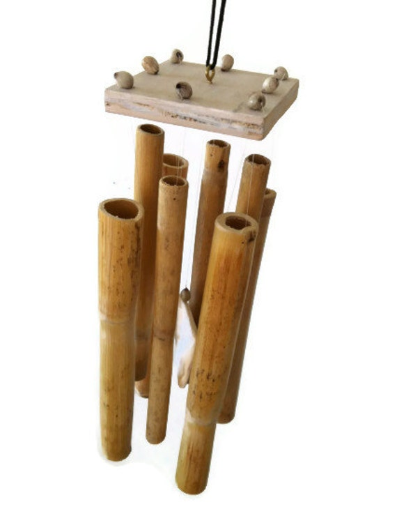 Handmade Calming  Bamboo Wind Chime with Sea Shell Clacker Natural Colors (lot 146)