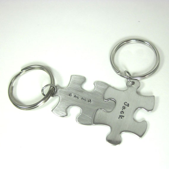 personalized puzzle piece key chain set of two by