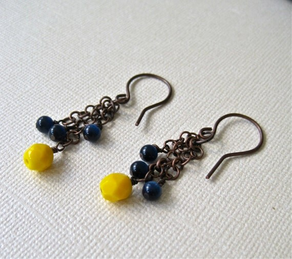 yellow and navy blue. beaded earrings. rustic copper. beaded cluster earrings. czech glass beads.