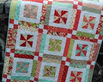 "QUILT KIT: Lemonade Lollipop Pattern - 45"" x 59"", Layer Cake and Neutral Yardage"