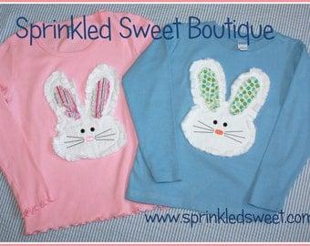 Raggy Bunny applique shirt for boys or girls