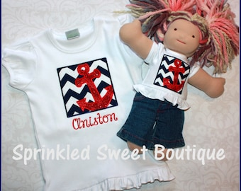 "Custom Applique DOLL Shirt -Fits all 18"" dolls"