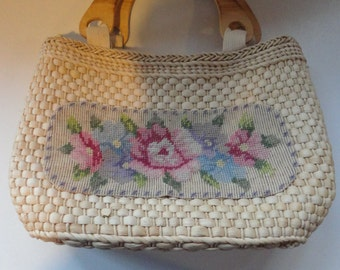Vintage Straw Handmade Purse Handbag with Wooden Handles and Floral Needlepoint