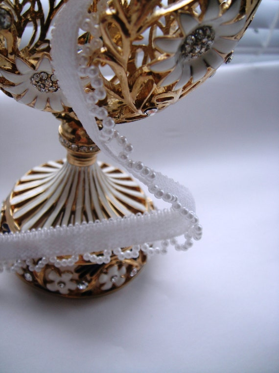 White Pearl Beads Trimming on Elastic Ribbon, White Ribbon, White Pearls, White Ribbon, Pearls (8-033)
