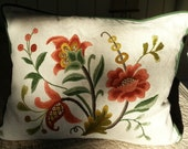 PRICE REDUCED- Decorative Crewel pillow and matching wall hanging. Colored wool stitching on neutral linen.