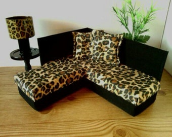 Playscale 1:6 Scale Furniture for Monster High or Barbie - Cheetah Print Sectional Sofa