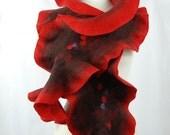 Felted scarf- felt scarf merino wool nunofelt winter fiber art gift nuno felt red black - AnnaWegg