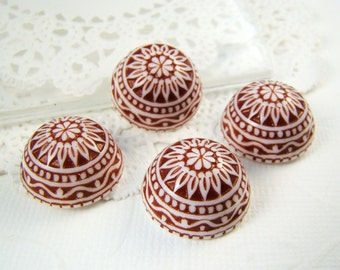 Vintage Round Red & White Etched Mosaic Lucite Cabochons 18mm Plastic Flat Back Stones - 4
