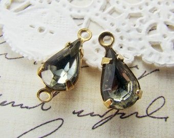 Vintage 10x6mm Black Diamond Teardrop Glass Jewels Stones in Brass Prong Settings Drop or Connector - 6