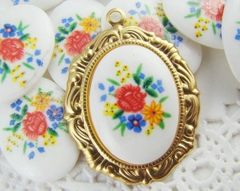Vintage Bright Rose Flower Cabochons 18x13mm Multi Color Glass - 2