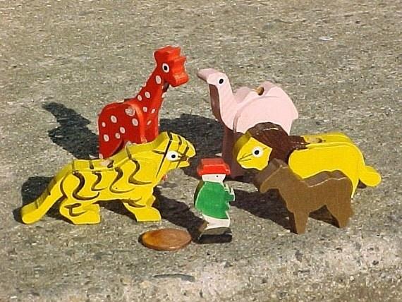 Vintage Wood Animal Toys - Flat Painted Wood Jungle Animals - Zoo Animal Birthday Cake Candle Holders