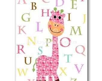 Art for Children Baby Girl Wall Art Kids Wall Art Baby Room Decor Baby Nursery Decor Baby Girl Nursery Print Giraffe Alphabet Baby Gift