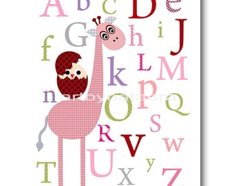 "Childrens art Kids Wall Art Baby Girl Room Decor Baby Nursery Decor Baby Girl Nursery print 8""x10"" rose giraffe alphabet nursery decoration"