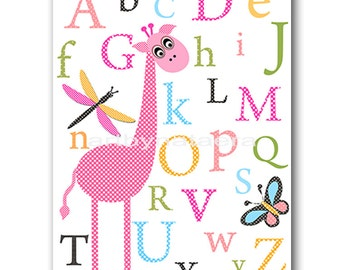 Baby Nursery Decor Childrens Art Kids Art Kids Wall Art Baby Girl Room Decor Baby Girl Nursery Print 8x10 Print Alphabet Decoration Rose