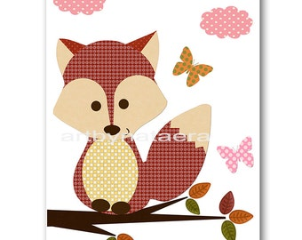 Baby Nursery Childrens Art Kids Art Kids Wall Art Baby Girl Nursery Baby Girl Room Decor Nursery Prints Girl Print Foxes Decoration Red