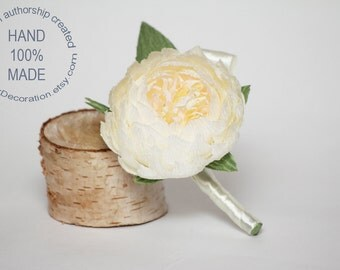 peony boutonniere, wedding flower, wedding peony, wedding decor, paper peonies, paper boutonniere, paper flower