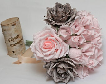 wedding bouquet, paper wedding bouquet, bridal bouquet, paper bouquet, bridesmaids bouquets, paper flowers, paper roses