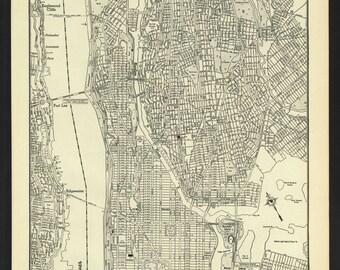 Vintage Street Map Upper Manhattan New York City New York From 1942 Original