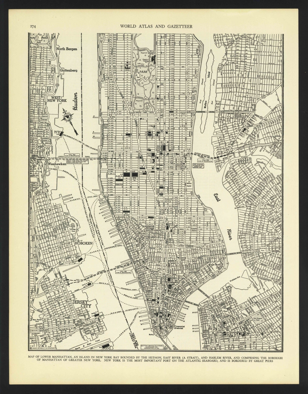 Vintage Street Map Lower Manhattan New York City New York From - Nyc map lower manhattan
