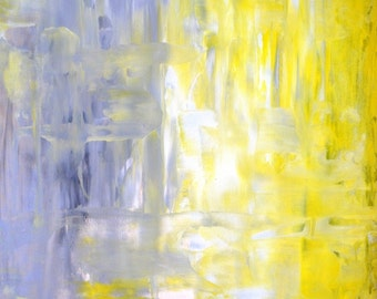 Cross Over, 2013 - Original Acrylic Artwork Modern Contemporary Abstract Painting Wall Decor Free Shipping Grey Yellow White 11x14 Paper