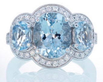 18K White Gold Three Stone Diamond Halo Something Blue Aquamarine Engagement Ring