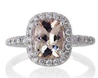 18 Karat White Gold 9x7mm Cushion Cut Morganite Diamond Halo Solitaire Engagement Ring Bridal Anniversary Ring