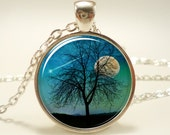 Tree Necklace, Shooting Star And Moon Jewelry, Comet Pendant (1375S1IN)