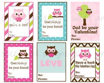 Owl Valentine's- Printable Kids Valentine's